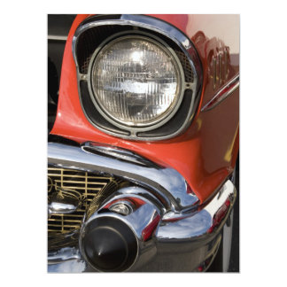 Classic Car Chrome Parts and Headlight 17 Cm X 22 Cm Invitation Card