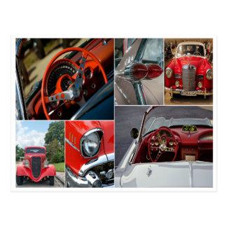Classic car collage postcard greeting card
