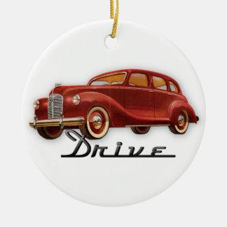 Classic Car Driver Retro Midcentury Auto Round Ceramic Decoration