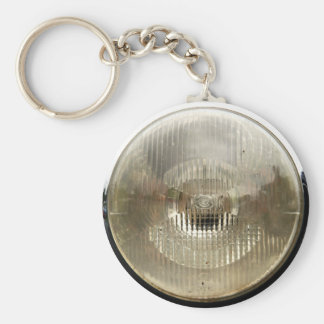 Classic car headlamp with round clear glass lens basic round button key ring