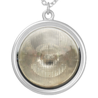 Classic car headlamp with round clear glass lens silver plated necklace
