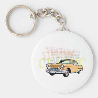 Classic car, old Chevrolet Bel Air in brown Basic Round Button Key Ring
