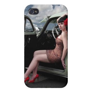 Classic Car Retro Pin Up Girl iPhone 4 Case