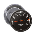 Classic car rev counter, racing air-cooled 911 pinback buttons