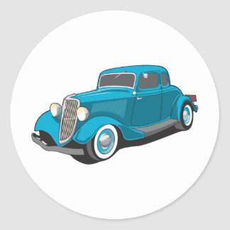 Classic Car Round Sticker