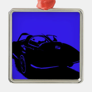 Classic Car Silver-Colored Square Decoration