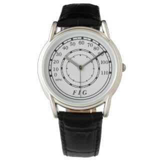 Classic Car Speedometer Monogram Watch