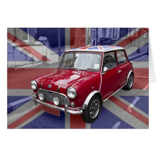 Classic Car Union Jack Flag Card