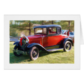 Classic Car with Christmas Wreath Greeting Card