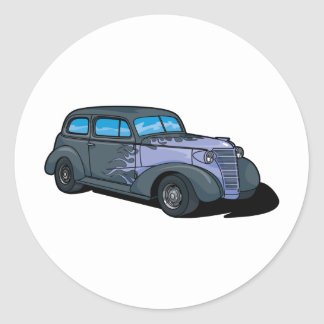 Classic Car with Flames Round Sticker