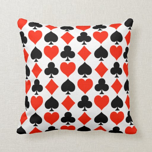 Classic Card Suits Pattern Throw Pillow