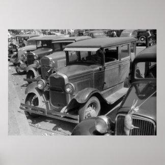 Classic Cars Greensboro, Georgia 1940s Poster