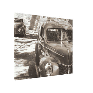 Classic Cars sepia wrapped canvas