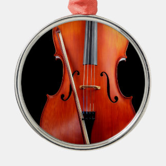 Classic cello on black christmas ornament