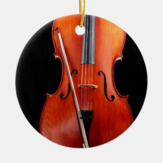 Classic cello on black christmas ornament