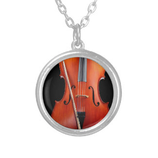 Classic cello on black silver plated necklace