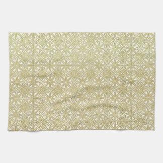 Classic Celtic Knot Wedding Gold & Green pattern Tea Towel