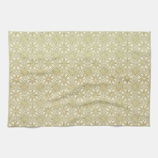 Classic Celtic Knot Wedding Gold & Green pattern Towel