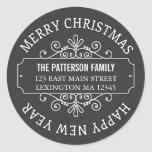 Classic Chalkboard Merry Christmas Label