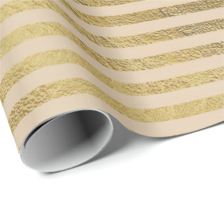 Classic Champaign Foxier Gold Lines Stripes Paris Wrapping Paper