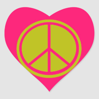Classic Chartreuse Green Peace Sign Heart Sticker