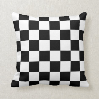 Classic Checkered I Bleed Racing Check Black White Cushion