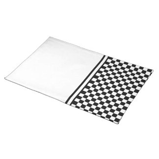 Classic Checkered Racing Check Black and White Placemat