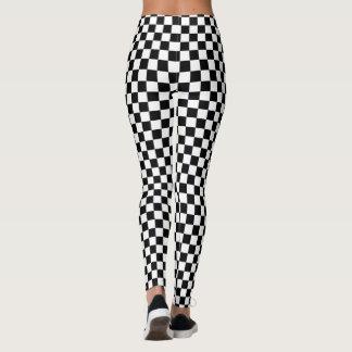 Classic Checkered Racing Flag Check Black White Leggings