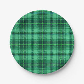 Classic Cheerful Plaid | green 7 Inch Paper Plate