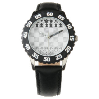Classic chess board watch