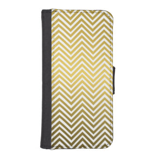 Classic Chevron Gold Metal Pattern iPhone SE/5/5s Wallet Case
