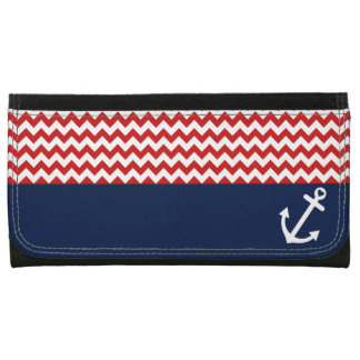 Classic Chevron Nautical Love Leather Wallet For Women
