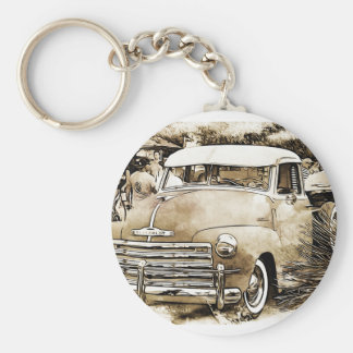 Classic Chevy Chevrolet Truck Basic Round Button Key Ring