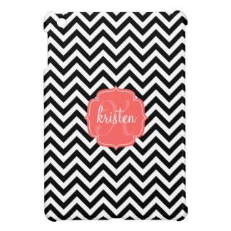 Classic Chic Black & White Chevron Stripes Custom Cover For The iPad Mini