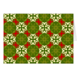Classic Chic Gold Red Green Christmas Snowflake NT Card
