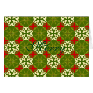 Classic Chic Gold Red Green Christmas Snowflakes Card