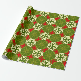 Classic Chic Gold Red Green Christmas Snowflakes Wrapping Paper