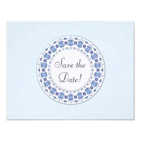 Classic China Blue Personalised Save the Date Card
