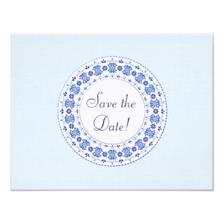 Classic China Blue Personalised Save the Date Card 11 Cm X 14 Cm Invitation Card