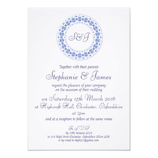 Classic China Blue Personalised Wedding Invitation
