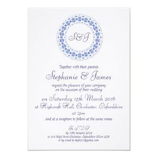 Classic China Blue Personalised Wedding Invitation 13cm X 18cm Invitation Card
