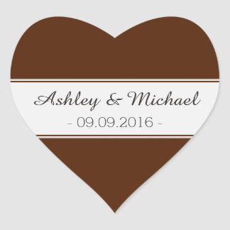 Classic Chocolate Brown Save the Date Heart Sticker