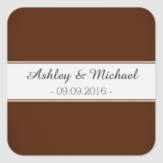 Classic Chocolate Brown Save the Date Square Sticker