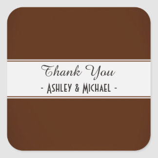 Classic Chocolate Brown Thank You Square Sticker