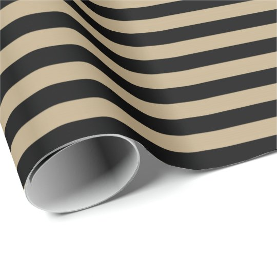 Classic Chocolate Coffe Beige Black Stripes Paris Wrapping