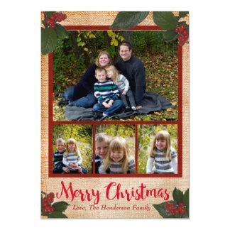 Classic Christmas Berries 5x7 Christmas Photo Card
