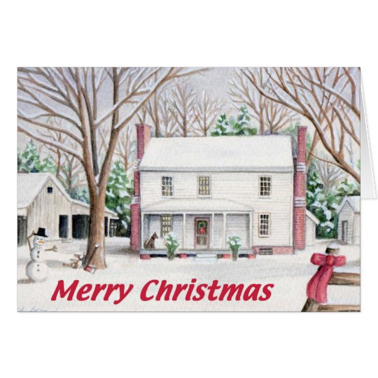 Classic Christmas Farm House Card