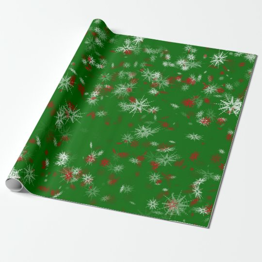 Classic Christmas Green Burgundy White Snowflakes Wrapping Paper