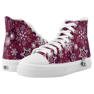 Classic Christmas Holiday Snowflake Pattern High Tops