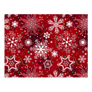 Classic Christmas Holiday Snowflake Pattern Postcard